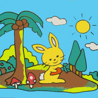 konijntje palmboom zandtekening