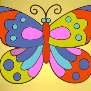 zandtekening vlinder