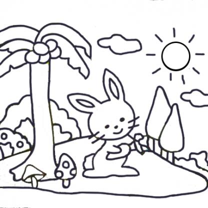 zandtekening konijntje palmboom