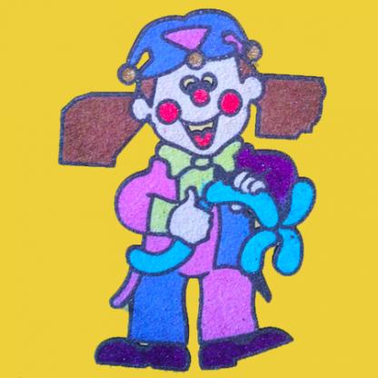 zandtekening clown