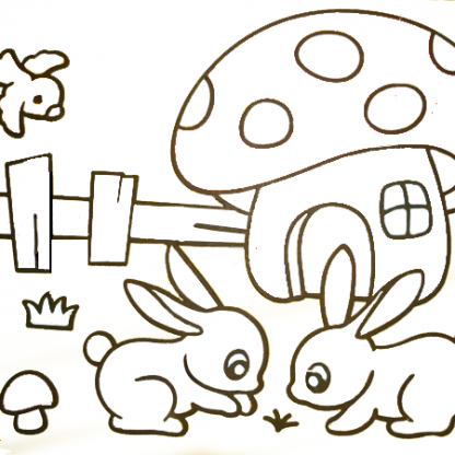 zandtekening konijntjes