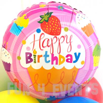 verjaardag ballon cupcake