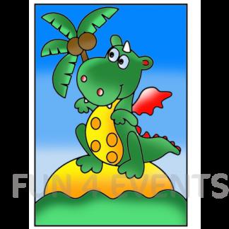 dinosaurus palmboom gekleurd zandtekening