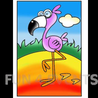 flamingo gekleurd zandtekening