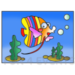 maanvis gekleurd zand tekening