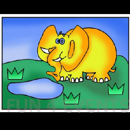olifant met gekleurd zand