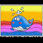 walvis gekleur zandtekening